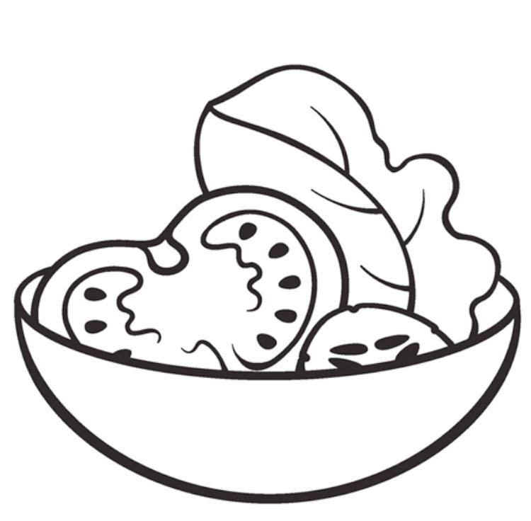 Раскраски Суп, каша, салат