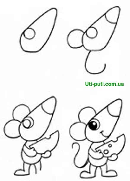 как нарисовать карандашем мышку с сыром