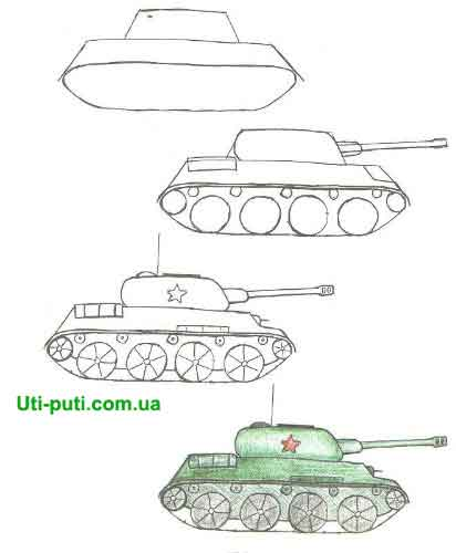 пошаговая инструкция по рисованию танков