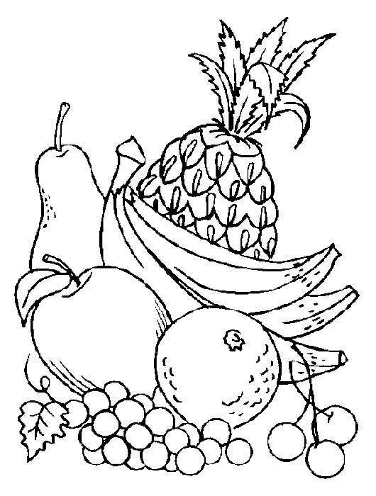 раскраски овощи и фрукты картинки