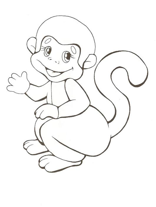Раскраска фото с обезьянкой
