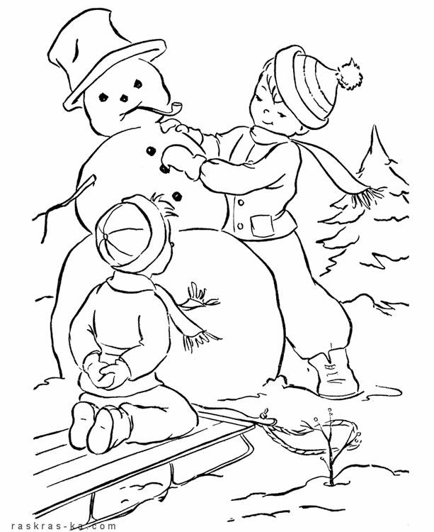 Раскраски зима для детей распечатать - 2