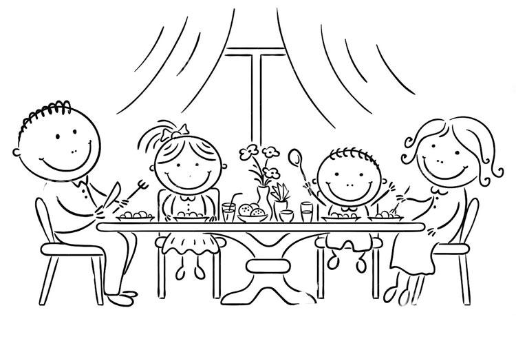 Накрытый стол раскраска