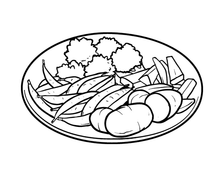Раскраска салат в тарелке