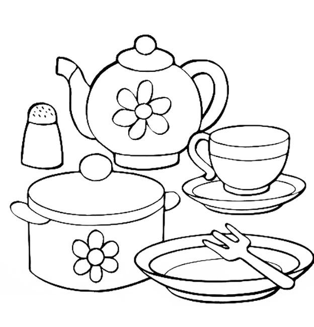 Раскраска посуда для детей распечатать