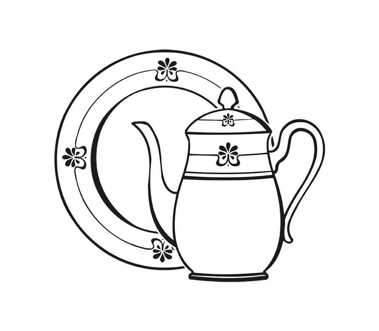 Раскраски чайник и чашки