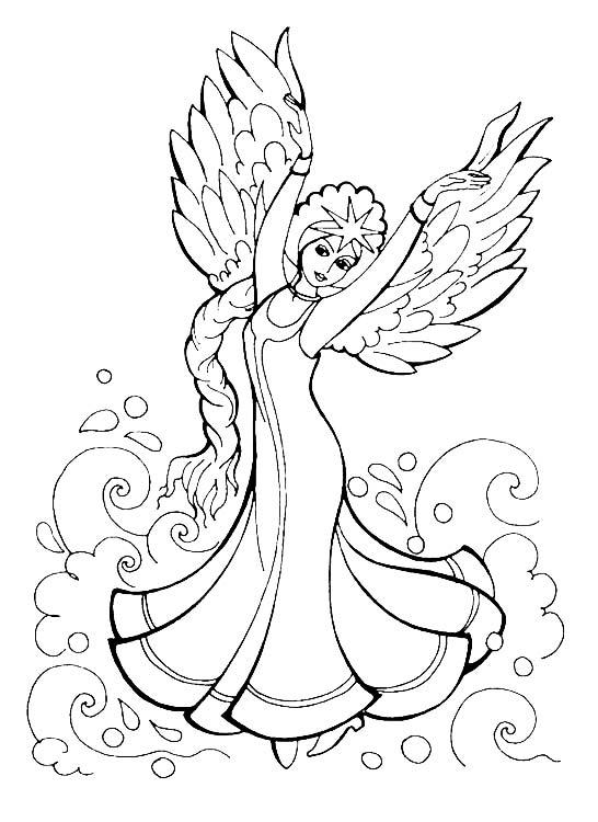 Раскраска сказка о царе салтане лебедь