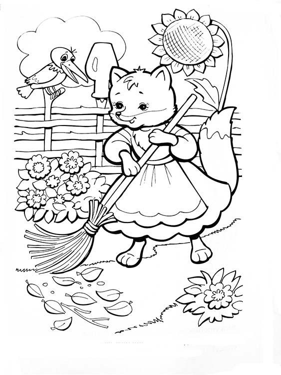 Раскраска лисичка из сказок