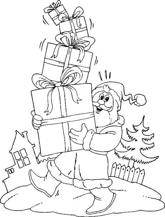 Рисунки для нового года раскраска