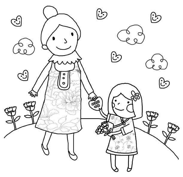 Раскраска мама и малыш - 10
