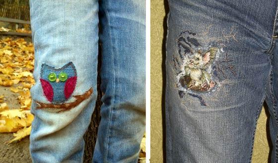 Вышивка заплатка на джинсах