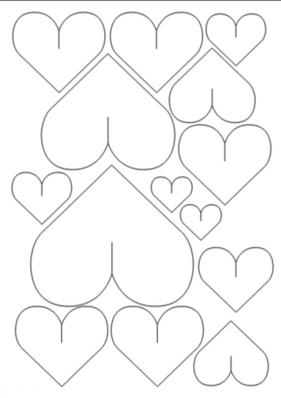 Объемные сердечки из бумаги трафарет