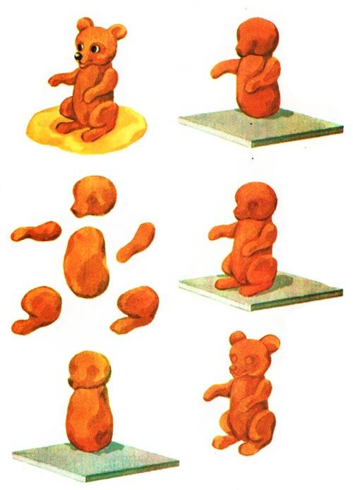 Как из пластилина сделать медведя схема